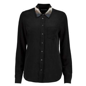 Equipment Black Silk Shirt with Embellished Collar